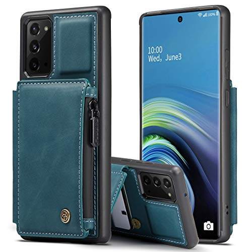 SWP for Galaxy Note 20 Wallet Case w/Card Holder [RFID Blocking] [3 Card Slots] [1 Money Pocket], Credit Card Holder Slot Cases w/Wristlet Zipper Wallet for Samsung Galaxy Note 20 5G (Teal Blue)