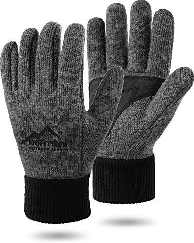 normani Wollhandschuhe Fingerhandschuhe mit Thinsulate™ Thermofutter und Fleece Innenmaterial - Strickhandschuhe für Damen und Herren (XS bis 4XL) Farbe Grau mit Silikonschicht Größe L