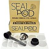 Nespresso Wiederverwendbare Kapsel: Sealpod Starter-Pack – eine nachfüllbare Edelstahl-Pod für OriginalLine Nespresso-Maschinen und 24 Espressodeckel (1 Kapsel, 24 Deckel)