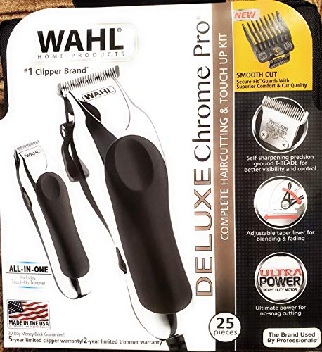 Whal Deluxe Chrome Pro 25 pieces, complete haircutting & touch-up kit model 79402