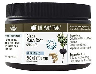 Gelatinized Black Maca Root Capsules - 750 Mg, 200 Ct - Certified Organic, Fresh Harvest from Peru, Fair Trade, GMO-Free, Gluten Free and Vegan