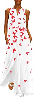 Women Vintage Lightweight Daily Casual Sleeveless Cold Shoulder Large Size - Printed Butterfly Dress S-5XL