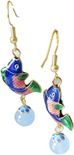 Cloisonne Fish with Jade Bead Earrings with Heart Jewelry Box,Fish Earrings for Women (Blue)