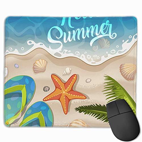 Niedliches Gaming-Mauspad, Schreibtisch-Mauspad, kleine Mauspads für Laptop-Computer, Mausmatte Blaue Farbe Sommerferien in Beach Seashore Bunte Füße Flip Flip Flop Natur