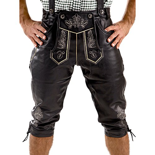 Almbock Trachtenlederhose Herren Kniebund schwarz - Lederhosen Tracht Herren mit fescher Stickerei - Leder Hosen Herren Oktoberfest - Lederhose Gr 60