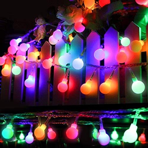 Solar Lichterkette Außen, 8 Meter 60er LED Solar Lichterkette mit LED Kugel 8 Modi IP65 Wasserdicht Mehrfarbig Lichterkette mit Lichtsensor Beleuchtung für Garten, Partys, Rasen, Hochzeit