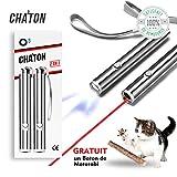 O³ Jouet interactif Chat - 2 Pointeur lumineux + 1 bâton d'Herbe à Chat Matatabi...