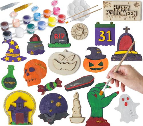 KIZZYEA 20 Pcs Halloween Craft Kit for Kids - DIY Arts Crafts Wood Magnet Creativity Painting Kit for Family Activities, Party Favor Supplies, Party Decor - Decorate Your Own for Kids Paint Gift