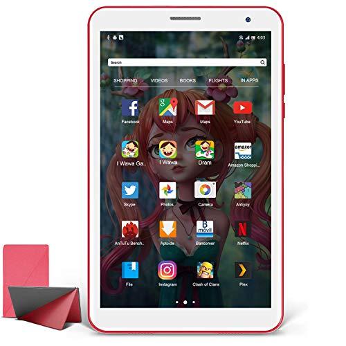 Tablet 8 Pollici, Tablet Andriod 10.0 con Processore Quad-Core 1.6GHz 3G ROM 32GB RAM, Tablet per Bambini con Fotocamera da 5MP, Tablet Offerte con WiFi Bluetooth Google Play (Rosso)