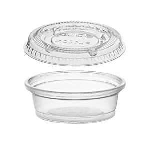 (125 Pack- 0.5 Oz) Portion Cups with Lids Clear Plastic Condiment Cups Sauce Cups Disposable Souffle Cups Jello Shot Cups