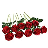 FLLOJOYA Artificial Rose Flowers Fake Roses Silk Flowers Plastic Long Stem Silk Roses for Flower Arrangment DIY Home Wedding Decor(red Roses)
