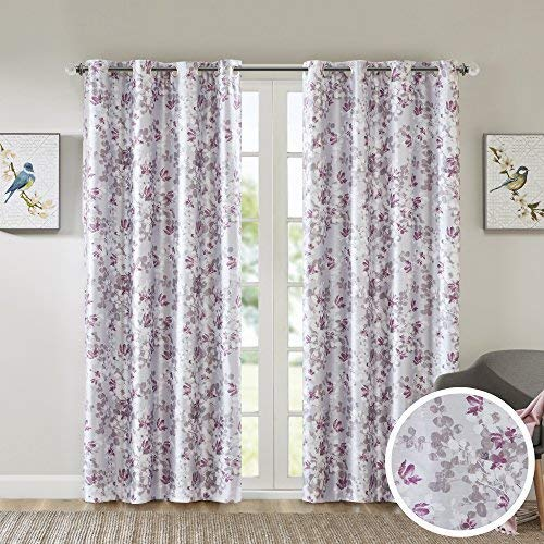 Room Darkening Curtains for Bedroom - Printed Floral Sumi-e Window Curtains Pair - Plum Pink / Red - 42x84 Inch Panel - Energy Saving Black out Window Curtain - Grommet Top - Include 2 Panels