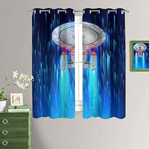MRFSY Star Trek Enterprise Starships - Cortinas opacas anchas para cocina, aislamiento térmico, cortinas para oscurecimiento de habitación, para sala de estar, tamaño total de 72 x 72 pulgadas