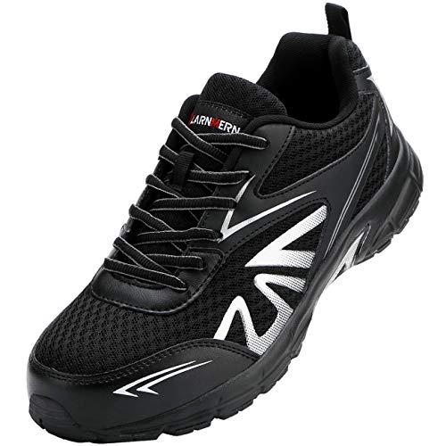 [LARNMERN] 安全作業靴 メンズ 鋼先芯 スニーカー 通気性が良い セーフティーシューズ 快適 軽量 作業靴 メッシュ 通動 耐久性 滑り止め 安全靴 (ブラック,26.0cm)
