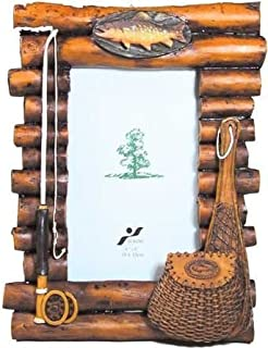 WD Rustic Wood Log Photo Frame with Fishing Theme Accents 4x6 (Vertical)