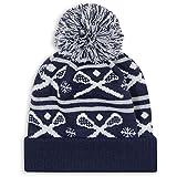 Navy with White Sticks Lacrosse Pom Pom Beanie Hat | Lax Hats by ChalkTalk Sports
