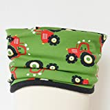 Fleece Loop Schal | Traktor grün rot schwarz | Junge Boy Kind 3-4 - 5-6- 7-8 Jahre | Halstuch Schal warm gefüttert