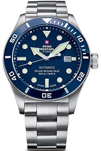 Swiss military chrono orologio Uomo Analogico al Automatico con cinturino in Acciaio INOX SMA34075.02