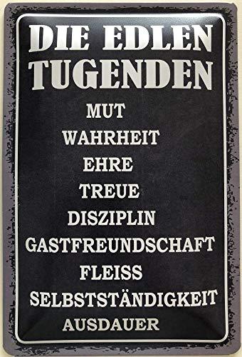 Deko7 Blechschild 30 x 20 cm Die edlen Tugenden: Mut, Wahrheit, Ehre, Treue, Diszipin, Fleiss