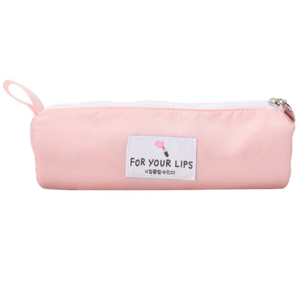 Remeeehi - Estuche cilíndrico de gran capacidad con asa para maquillaje, cosméticos, maquillaje, color rosa: Amazon.es: Oficina y papelería