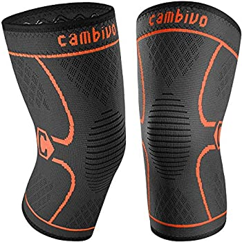 CAMBIVO 2 Pack Knee Brace Knee Compression Sleeve for Men and Women Knee Support for Running Workout Gym Hiking Sports  Orange,Large