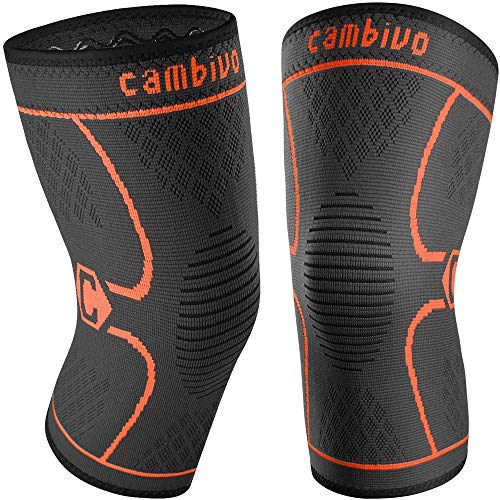 CAMBIVO 2 Pack Knee Brace, Knee Compression Sleeve Support for Men and Women, Running, Hiking, Arthritis, ACL, Meniscus Tear, Sports (Orange,X-Large)