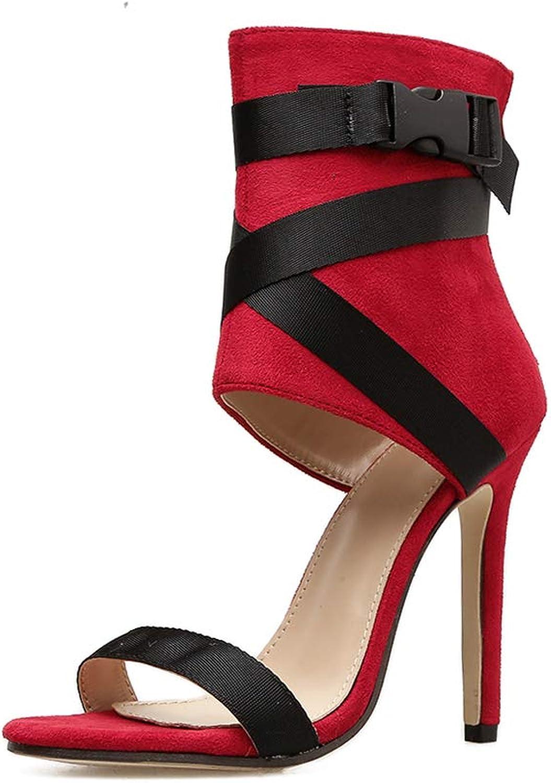 Women's Faux Leather Ankle Toe Cross Strap Zip Up High Heels Pumps Sandals