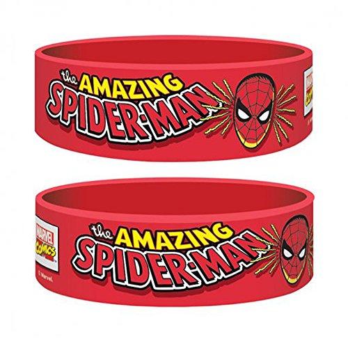 Marvel Retro–Spiderman–Pulsera de silicona para coleccionistas–Wristbands de 24x 65x 1mm extensible