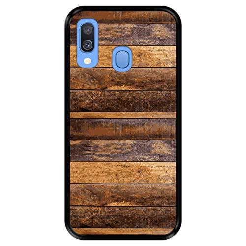 Hapdey Custodia per [ Samsung Galaxy A40 2019 ] Disegni [ Struttura della Parete di Assi di Legno ] Cover Guscio in Silicone Flessibile Nero TPU