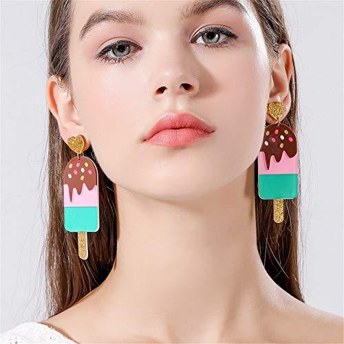 LKJHG Damen Ohrringe, Vintage braun Big Long EIS Herz Acryl niedlich Party Charme Dangle Anhänger Ring Ohrringe für Frauen Männer Damen Mädchen Geschenke