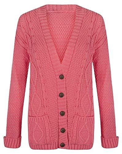 RIDDLED WITH STYLE - Cardigan da donna, a manica lunga, maglione Aran spesso, a trecce, con bottoni Corallo 52-54