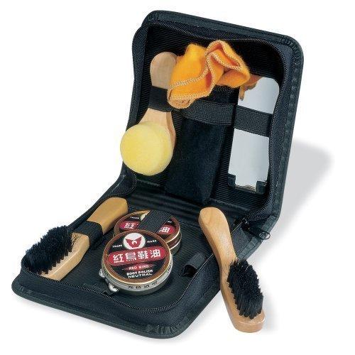 Juego abrillantador de Calzado de Viaje en Estuche - Set de Cuidado con Cepillo Colores Negro y Neutro