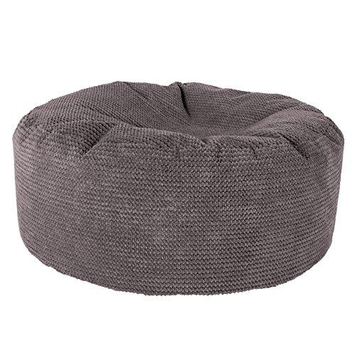 Lounge Pug, Sitzhocker Pouf, Sitzpouf, Pom-Pom Anthrazit