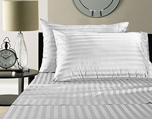 Addy Home Fashions Egyptian Cotton 500 Thread Count Damask Stripe Sheet Set, King - White