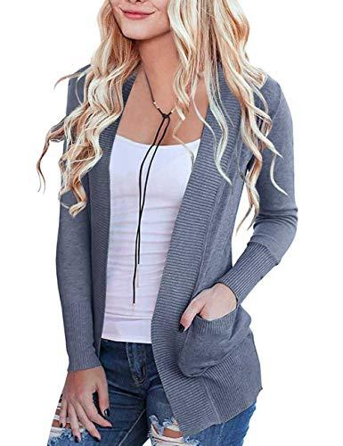 MEROKEETY Women's Open Front Casual Knit Cardigan Classic Long Sleeve Sweater with Pockets, Dustyblue, L