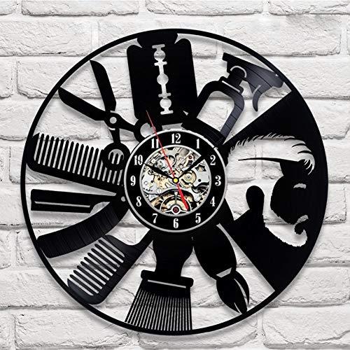 Outils de cheveux vinyle horloge murale unique art coiffeur Barber outils Design cadeau pour les amis Barber | Décoration de maison et de chambre