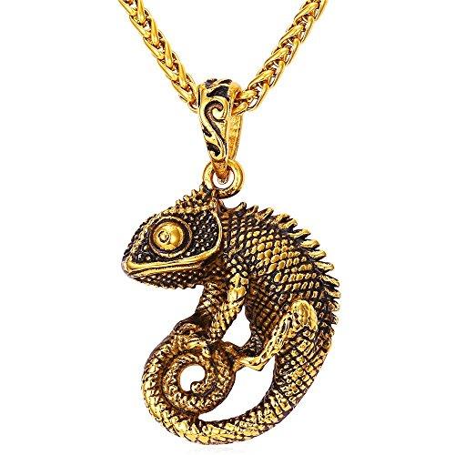 Men Cool Chameleon Necklace 18K Gold Plated Black Enamel Vintage Animal Pendant with 22 Inch Chain