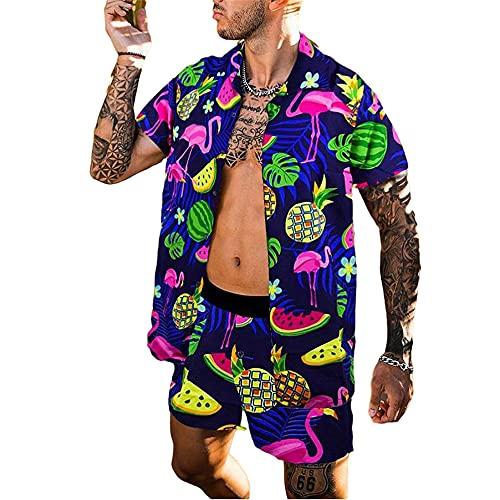 Manga Corta Set Hombre Verano Holgado Cárdigan Moderna Hombre Shirt Moda Vintage Estampado Hombre Playa Shirt...