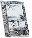 Cornice da Tavolo di Design, Base 18x25 cm, cornici per Foto in plexiglass 13x19cm, Colore Nero e Argento Fumetto
