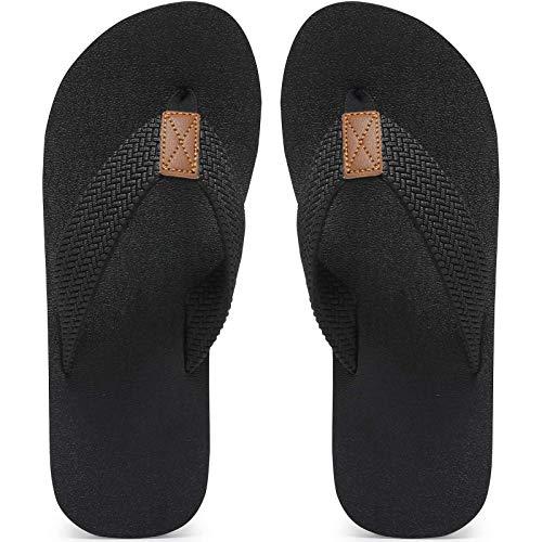 Maiitrip Mens Flip Flops Size 11,Summer Beach Male Shoes,chancletas de hombre chappals chancla Non-Slip Rubber Shower Thong Slippers Sandals,All Black