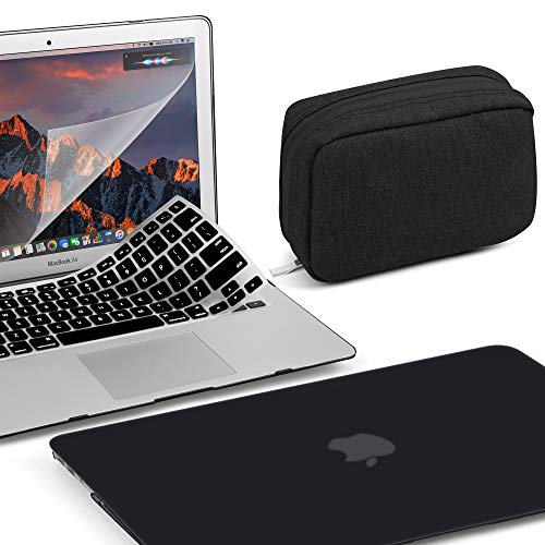 GMYLE MacBook Pro 13 Inch Case 2018 2017 2016 A1989 A1708 A1706 New Touch Bar 3 in 1 Bundle, Plastic Hard Shell, Fabric Storage Bag Travel Pouch for Accessories, Keyboard Cover Set - Black