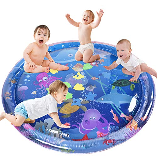 GOLDGE Tummy Time Mat for Kids, 100 X 100 cm Water Play Mat Toys, Large Size Inflatable Tummy Time Water Mat for Baby Early Development Activity