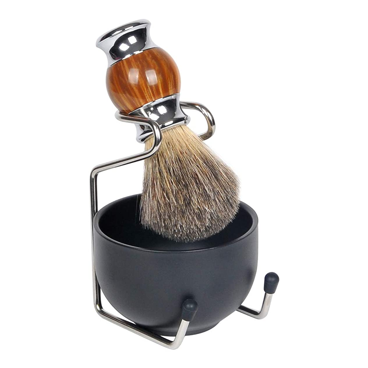 汗コロニアル枢機卿1by1 ひげブラシ シェービングブラシセット シェービング石鹸ボウル 理容 髭剃り 泡立ち 洗顔ブラシ メンズ 100% アナグマ毛(3点セット 金属ブラウン)