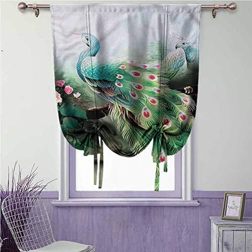 Pauw verduisterende gordijn gebonden gordijn staaf zak voor slaapkamer & eetkamer raam, voor kleine venster langwerpige veren vleugels