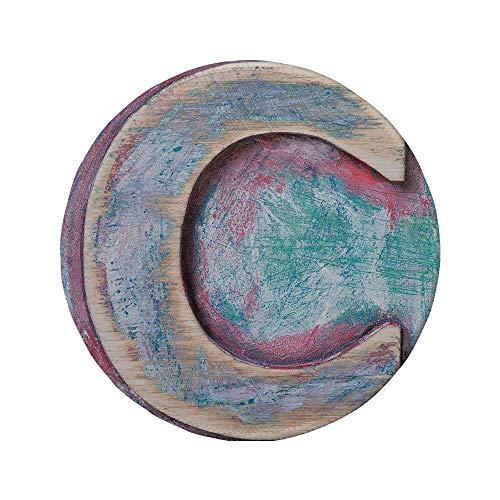 Rutschfreies Gummi-rundes Mauspad Buchstabe C Naturholz Holz Buchstabe C Schriftart Abgenutztes raues Display Retro ABC Dekorativ Blaugrüne dunkle Korallencreme 7.9
