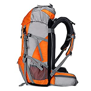 Loowoko Hiking Backpack 50L Travel Daypack Waterproof with Rain Cover for Climbing Camping Mountaineering by Loowoko(Orange)