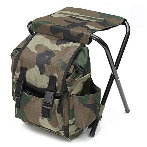 Mochila plegable, diseño de camuflaje portátil resistente al desgaste plegable silla taburete...