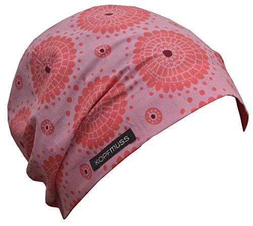 Kopfmuss Kopfmuss - Damen Leichte Sommermütze KoS1129 - XS, Pusteblume rosa/pfirsich