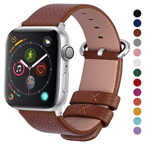 Fullmosa Compatibile Cinturino per Apple Watch 38mm/40mm e 42mm/44mm,15 Colori Yan Pelle Cinturino/Cinturini di Ricambio per Apple Watch,Cinturino per iWatch Series 5,4,3,2,1, Uomo e Donna, Marrone