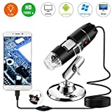 Microscope numérique USB, Endoscope de grossissement 40X-1000X Portable Bysameyee, Microscope Digital 8 LED pour Windows 7/8/10 Mac Linux sous Android (avec OTG)